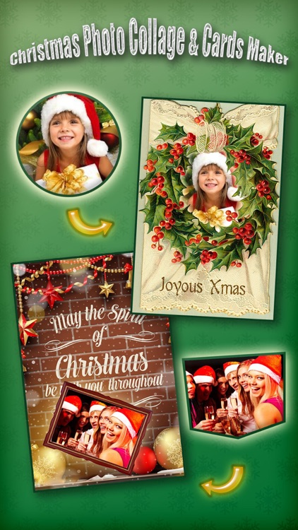 Christmas Photo Collage & Cards Maker Pro - Mail Thank You & Send Wishes with Greeting Quotes Stickers