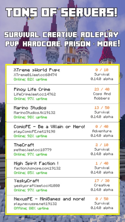 Multiplayer Servers for Minecraft Pocket Edition (Mod Server Database for  PE) by Ancor Software, LLC