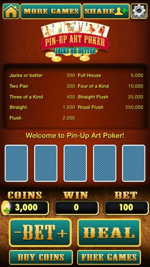 Pinup Art Video Poker - Jacks or Better Screenshot