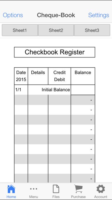 Check Book Register Screenshots
