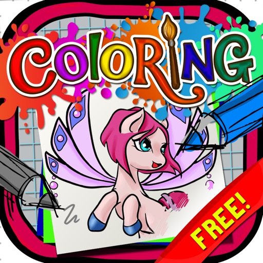 Coloring Book : Painting Pictures Fairy Pony Magic on Cartoon  Free Edition