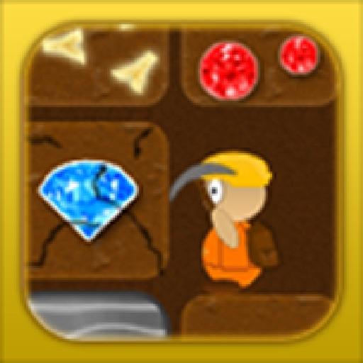 Treasure Miner - Explore a deep 2d gold mine in this mega digging and mining sandbox adventure as a gemstone digger