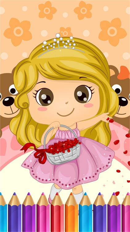 Sweet Little Girl Coloring Book Art Studio Paint And Draw Kids Game