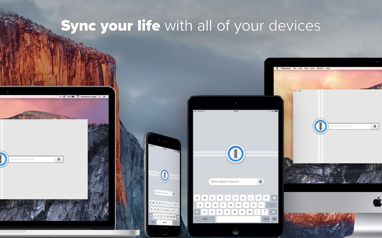 Screenshot do app 1Password