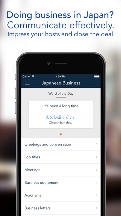 Japanese Business - a phrasebook for business trips to