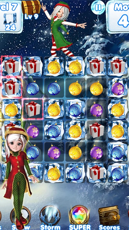Santa Games and Puzzles - Swipe yummy candy to make it collect jewels for Christmas!