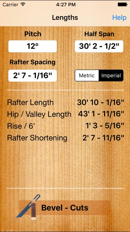 Roof Carpenter - Rafter, Hip,Valley - Length and Plumb Cut, Angle  Calculator including handy Bevel for Pitched roofs by David Tucker