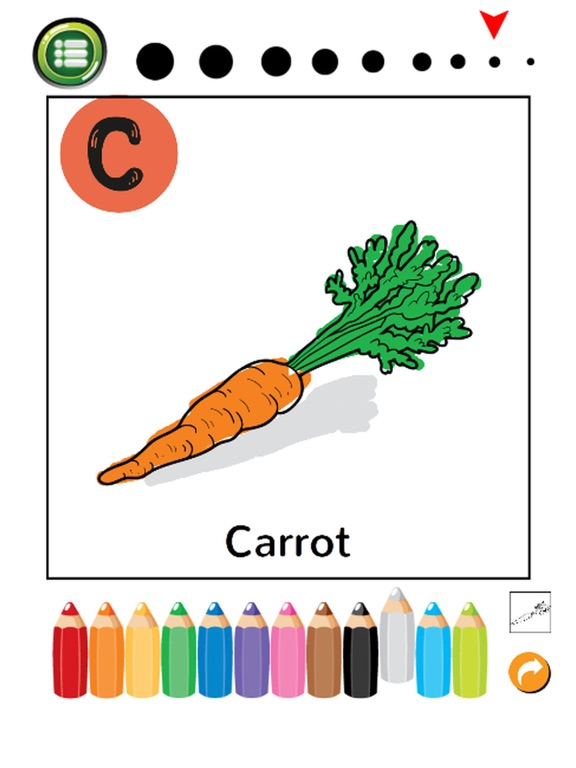 Screenshot 3 For ABC Fruits And Vegetables Coloring Book Learning English Vocabulary Free