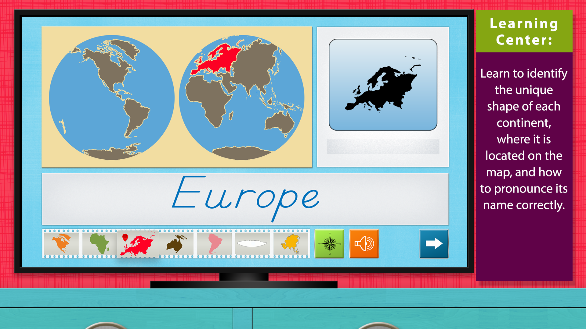 World Continents and Oceans - Geography by Mobile Montessori screenshot 1