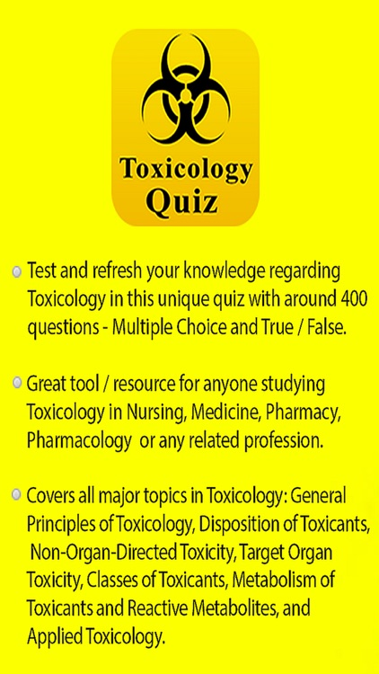 Toxicology & Poisonous Substances Quiz screenshot-0