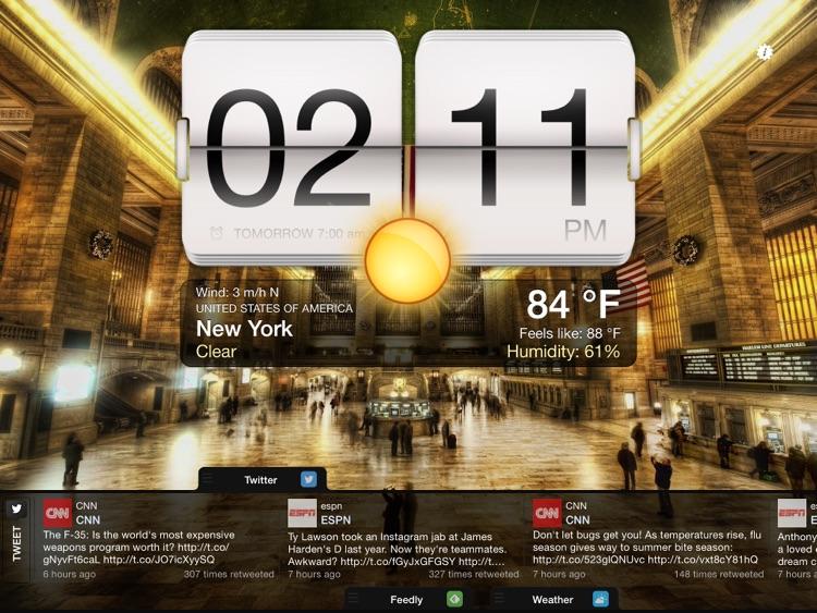 Night Stand for iPad - Social Reader, Weather & Alarm Clock screenshot-3