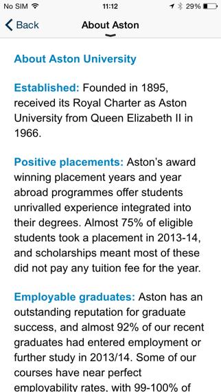 Aston University Open Day Guide screenshot two
