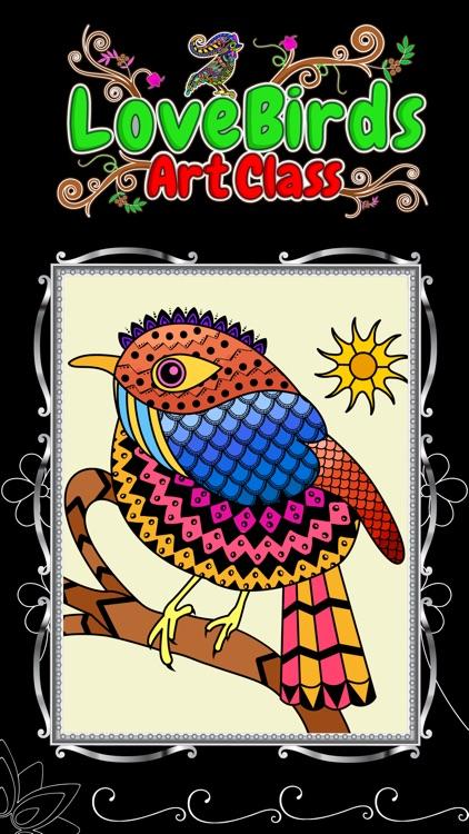 Love Birds Art Class: Adults Coloring Book