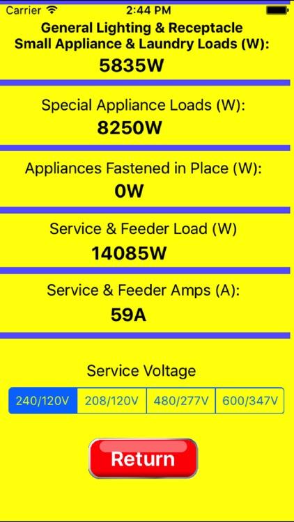 Electrical Load Calculator & Electrical Plan Example screenshot-3