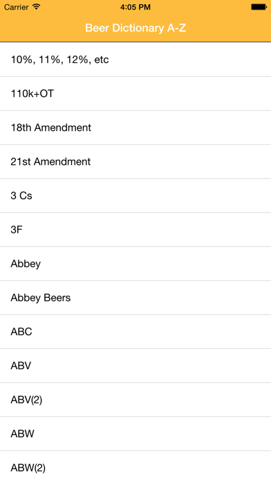 Beer Glossary A-Z screenshot one