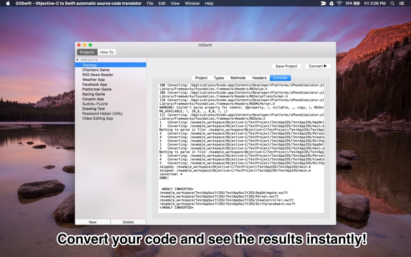 O2Swift - Objective-C to Swift automatic source code translator - App