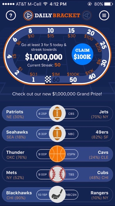 Daily Bracket: Sports Pick'em Screenshot