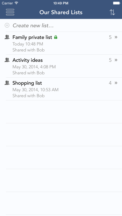 Our Shared Lists – Private, Secure Shared Lists screenshot