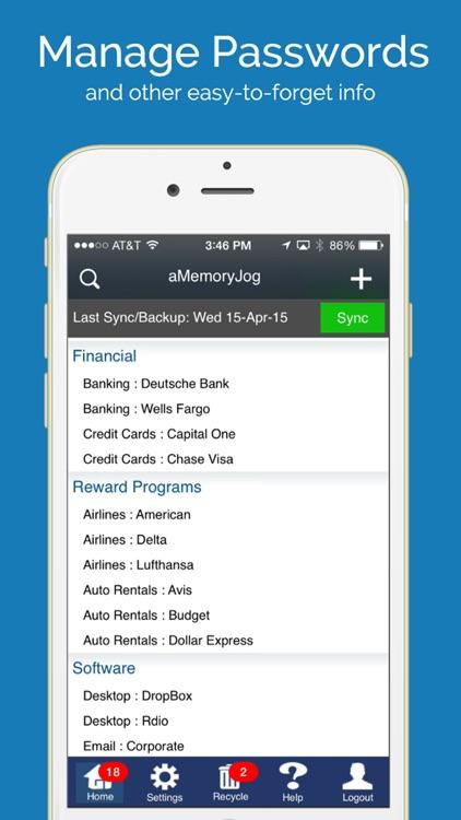 aMemoryJog FREE Password Vault & Sensitive Passcodes Login Form Autofill Tool screenshot-0