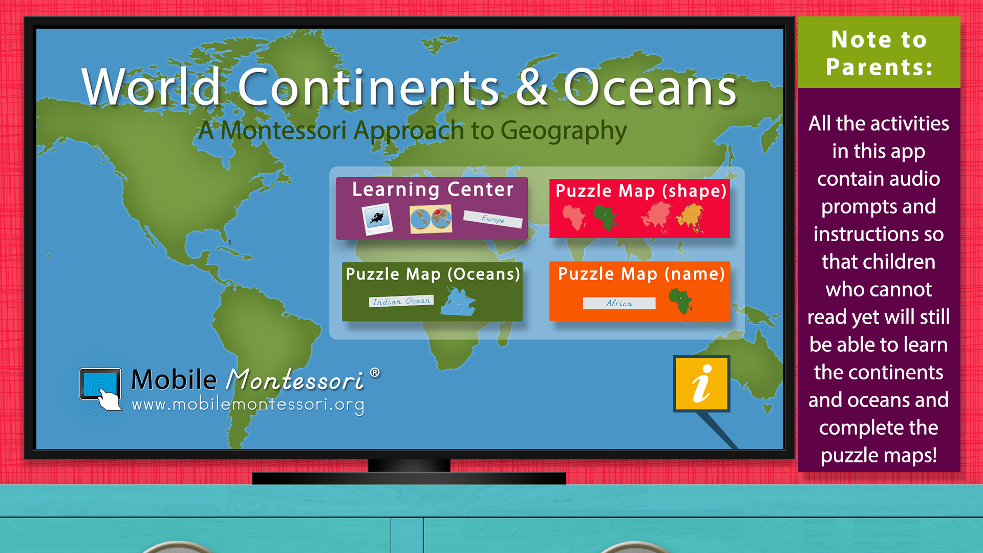 World Continents and Oceans - Geography by Mobile Montessori screenshot 5
