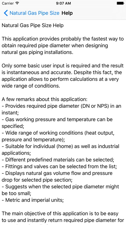 Natural Gas Pipe Size: pipe sizing & pressure drop calculation for natural gas installations screenshot-4