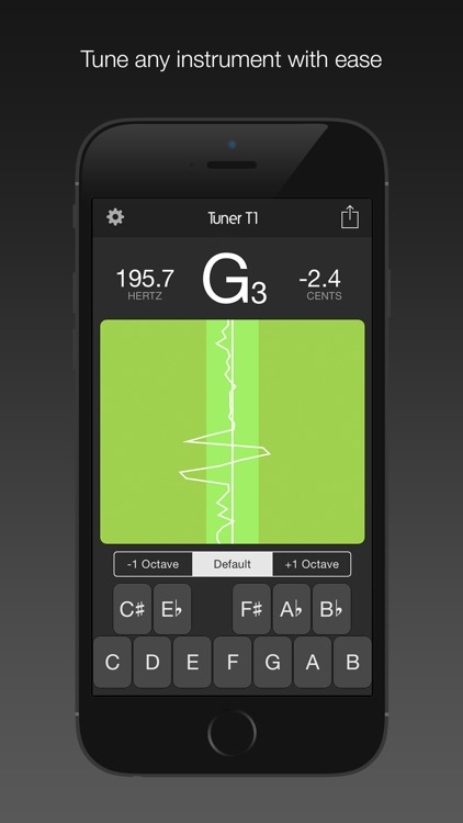 Tuner T1 – Tune any musical instrument (guitar, ukulele, violin, viola, bass, cello and more).