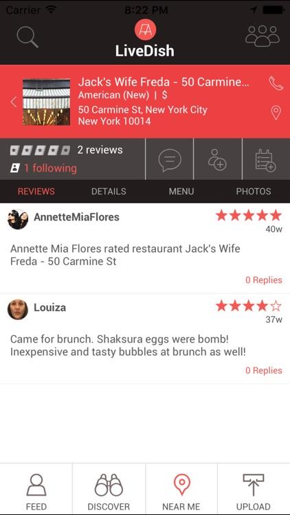 LiveDish : NYC's premier app for restaurant reviews, food photos, and menus. screenshot-3