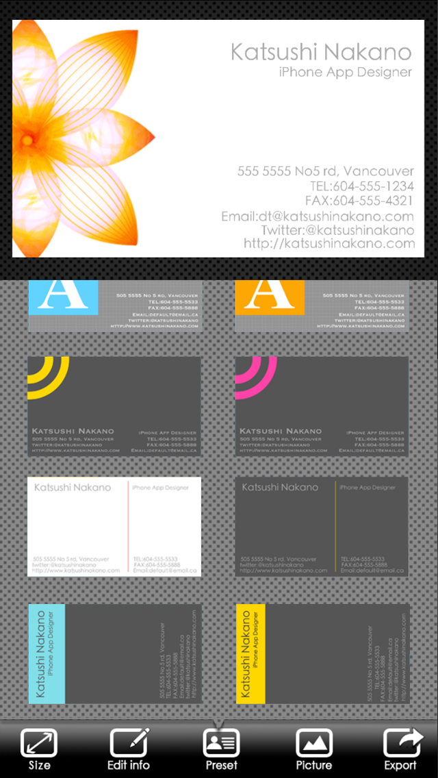 BusinessCardDesigner - 名刺作成ソフト、テンプレート with PDF, AirPrint and email functionのスクリーンショット3