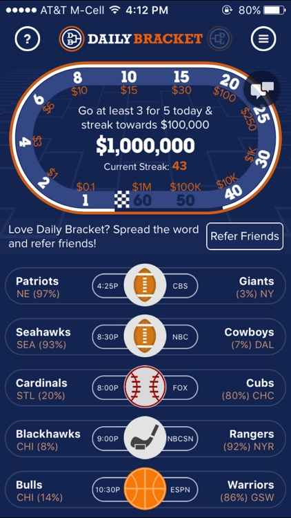 Daily Bracket: Sports Pick'em for Cash Prizes