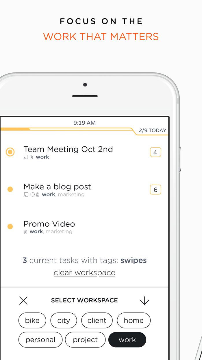 Swipes - To do & Task list. Plan & Achieve goals. Screenshot