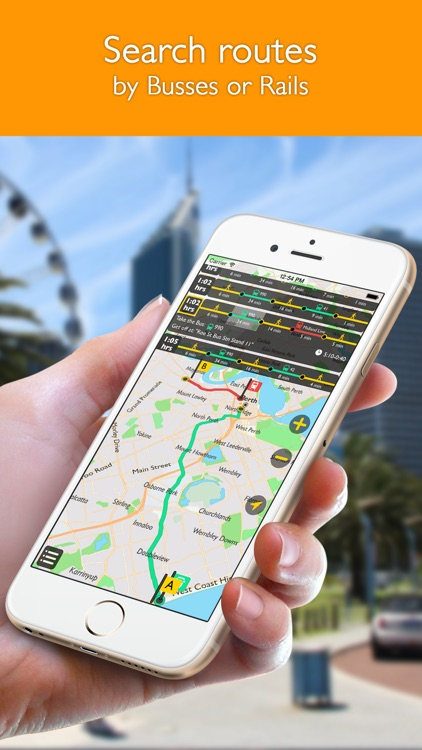 Perth offline map with public transport route planner for my journey