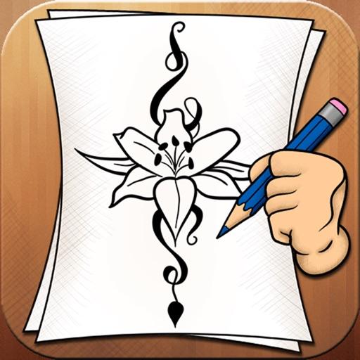 Flower Drawing App: Learning To Draw Flower Tattoo Designs By Hristina Nespeshnaya