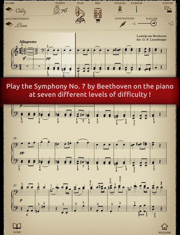 Play Beethoven – Symphony No. 7 (interactive piano sheet music) screenshot-0