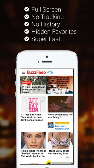 Private Browser for iPhone with Full Screen Screenshot on iOS