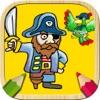 色海盗。颜色与你的手指游戏。着色书作画的海盗船。涂料和彩色图纸。梦幻岛海盗游戏。涂料的男孩和女孩