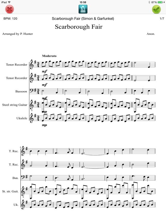Lyric scarborough fair lyrics and sheet music : Digital Songbook on the App Store