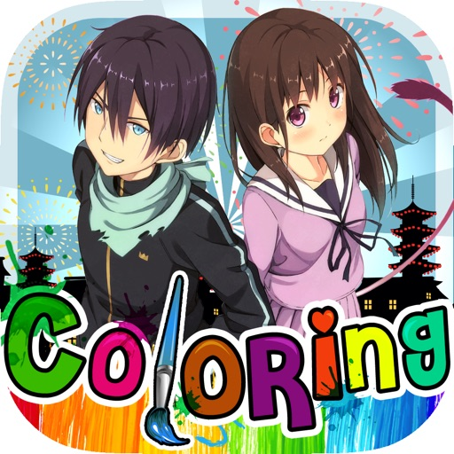 Coloring Anime & Manga Book : Cartoon Pictures Painting on Noragami for Kids