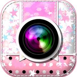 Sweet Camera and Cartoon Sticker Frame