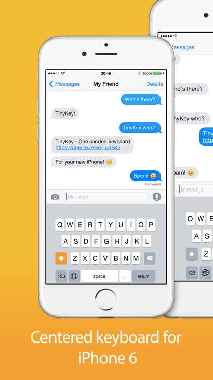 TinyKey - One handed keyboard for iPhone 6 & 6 Plus screenshot-3