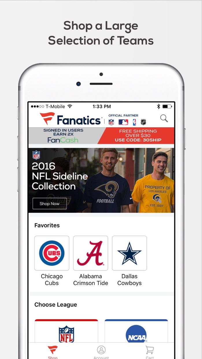 Fanatics – Official Team Gear Screenshot