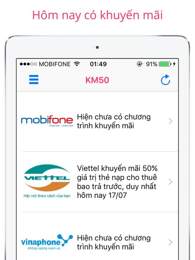 KM50: Nhận tin khuyến mãi
