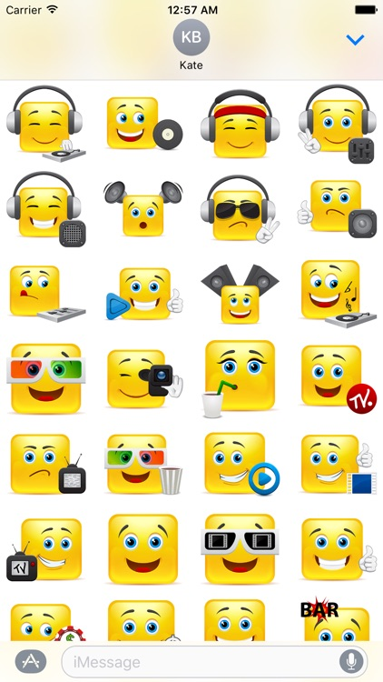 Yellow Square Smiley Emoji Stickers screenshot-4