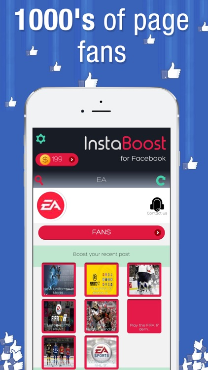 Get Facebook likes followers reactions InstaBoost by