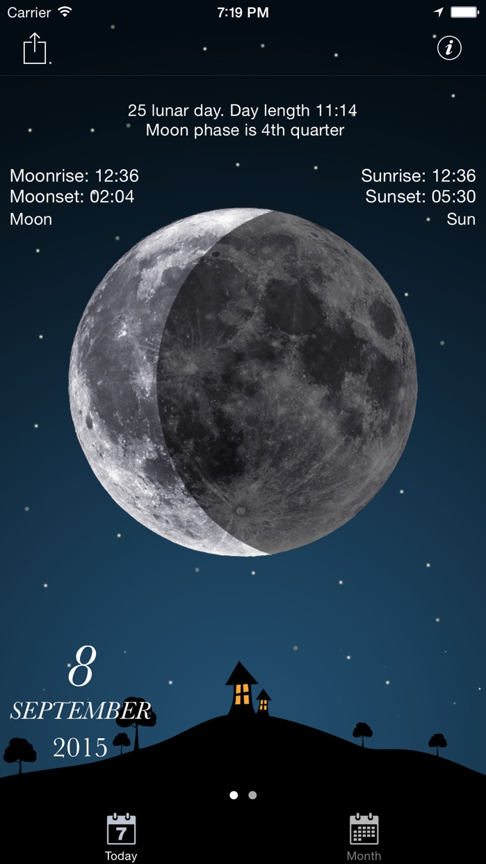 Sky and Moon phases calendar Screenshot