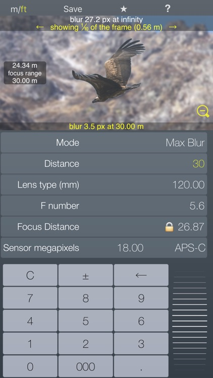 Focus / DOF hyperfocal calculator depth of field