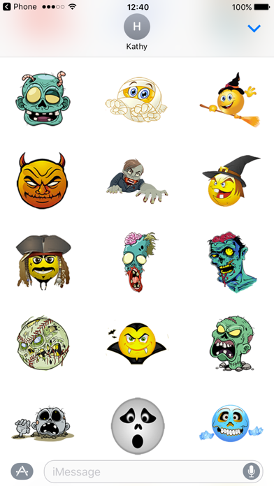 Zombie Stickers for Halloween Texting screenshot two