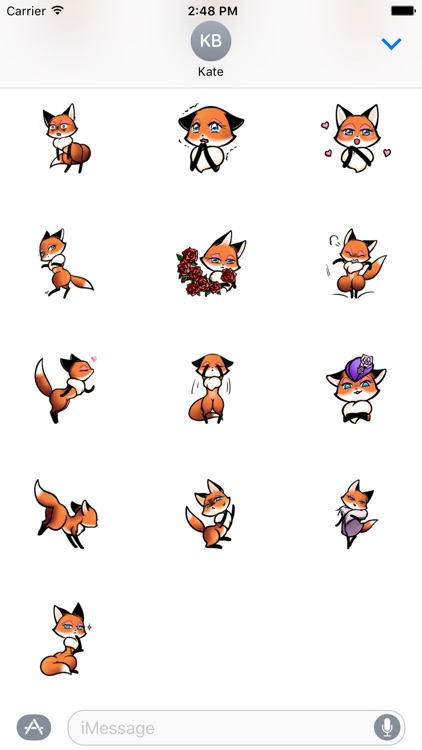 Fox Girl Beautiful Sticker For iMessages screenshot-2
