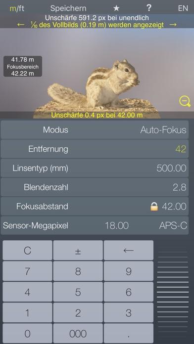Fokus Hyperfokalrechner TiefenschärfeScreenshot von 2