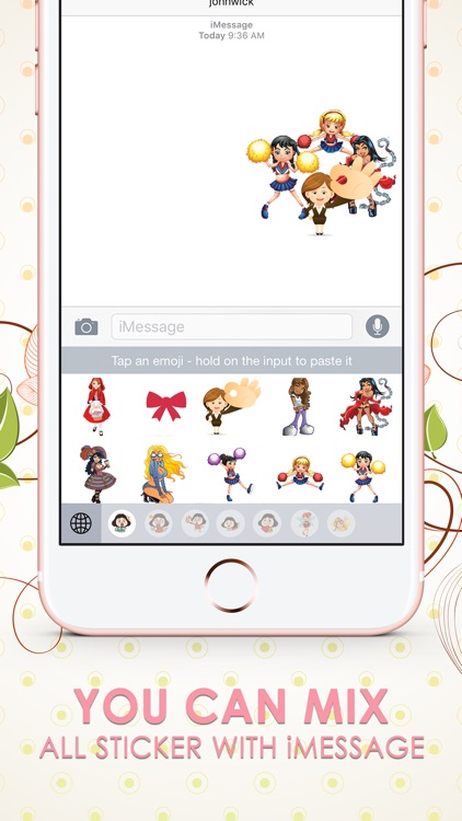 Girls Emoji Stickers Keyboard Themes ChatStick