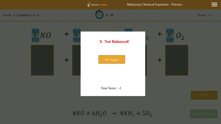 Gamily-Balancing Chemical Equations screenshot-3